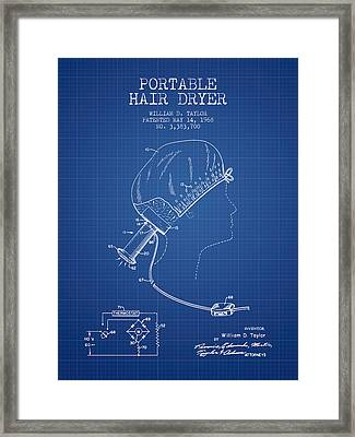 Portable Hair Dryer Patent From 1968 - Blueprint Framed Print by Aged Pixel