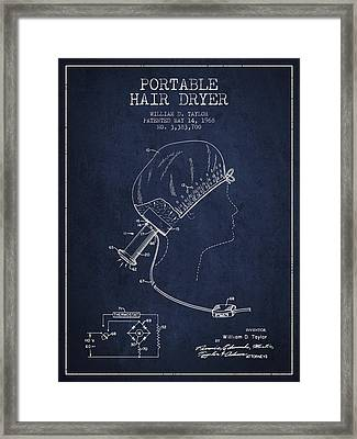 Portable Hair Dryer Patent From 1968 - Navy Blue Framed Print by Aged Pixel