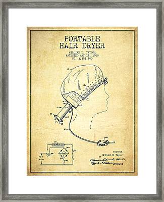 Portable Hair Dryer Patent From 1968 - Vintage Framed Print by Aged Pixel