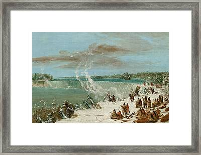 Portage Around The Falls Of Niagara At Table Rock Framed Print by George Catlin