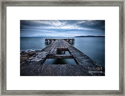 Portencross Pier  And Views To Arran Framed Print by John Farnan