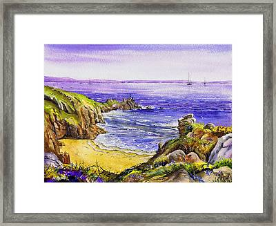 Porthcurno Beach Cornwall Framed Print by Andrew Read