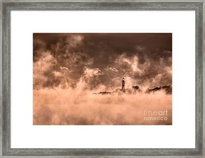 Portland Head Light Sea Smoke Framed Print by Benjamin Williamson