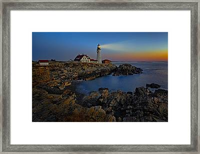 Portland Head Light Sunrise Framed Print by Susan Candelario