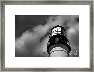 Portland Head Lighthouse In Black And White Framed Print by Diane Diederich