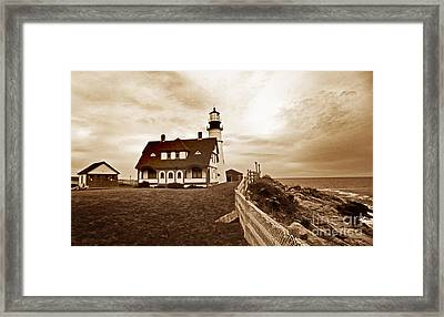 Portland Head Lighthouse In Sepia Framed Print by Skip Willits
