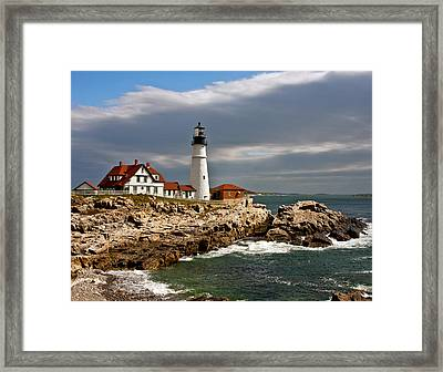 Portland Headlight Framed Print by John Haldane