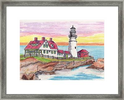 Portland Me Lighthouse Framed Print by Paul Meinerth