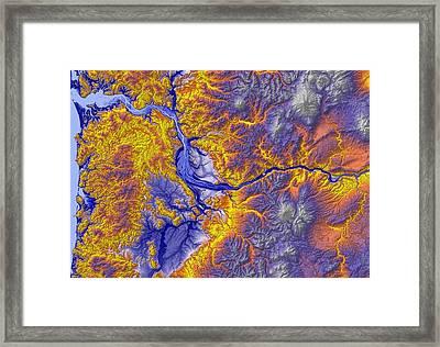 Portland Oregon Map Art Framed Print by Paul Hein
