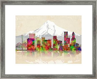 Portland Oregon Skyline Framed Print by Daniel Hagerman
