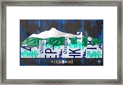 Portland Oregon Skyline License Plate Art Framed Print by Design Turnpike