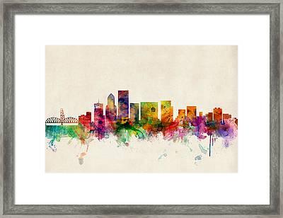 Portland Oregon Skyline Framed Print by Michael Tompsett
