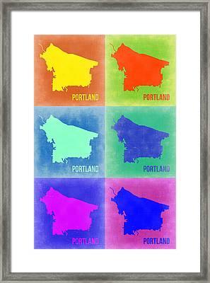Portland Pop Art Map 3 Framed Print by Naxart Studio