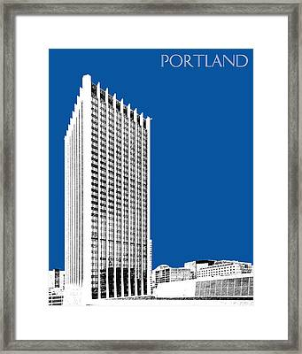Portland Skyline Wells Fargo Building - Royal Blue Framed Print by DB Artist