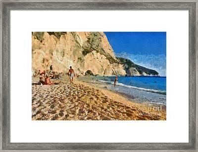 Porto Katsiki Beach In Lefkada Island Framed Print by George Atsametakis