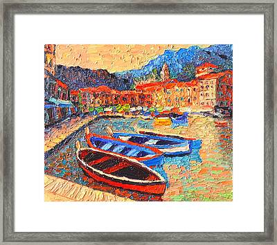 Portofino - Colorful Boats And Reflections In Dawn Light - Italy Liguria Riviera Framed Print by Ana Maria Edulescu