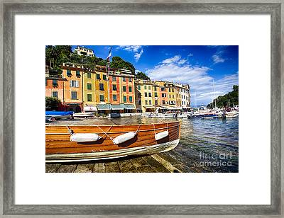 Portofino Harbor Close Up Framed Print by George Oze