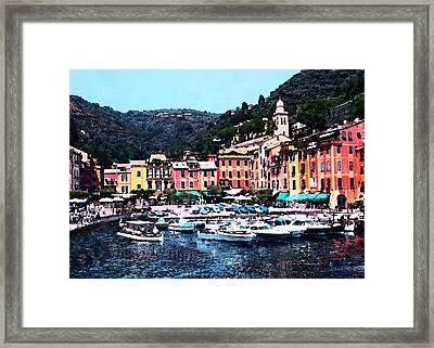 Portofino Harbor Framed Print by J Marielle