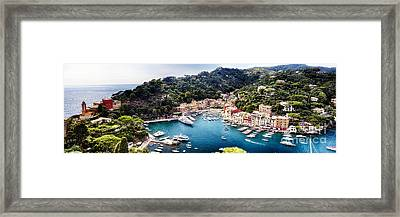 Portofino Panorama Framed Print by George Oze