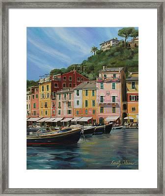 Portofino Summer Framed Print by Emily Olson