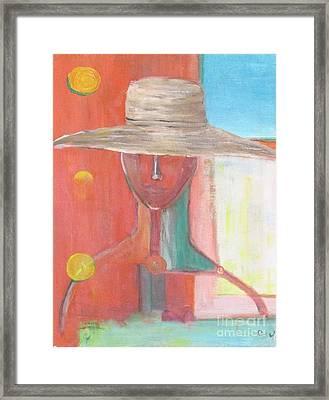 Portrait Avec Le Chapeau Framed Print by Chaline Ouellet