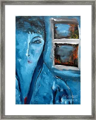 Portrait Bleu Avec Le Fenetre Framed Print by Chaline Ouellet