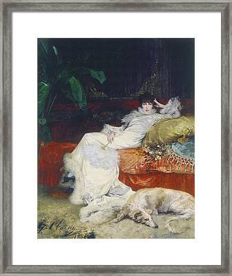 Portrait De Sarah Bernhardt Framed Print by Celestial Images