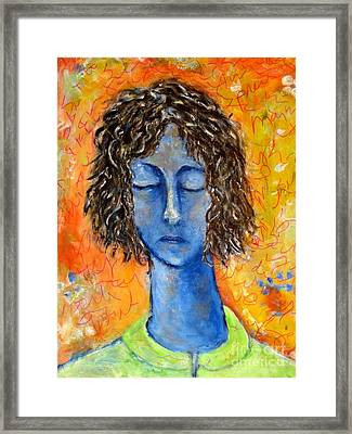 Portrait In Blue Framed Print by Chaline Ouellet