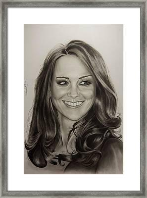 Portrait Kate Middleton Framed Print by Natalya Aliyeva