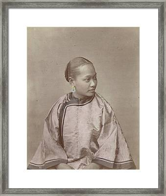 Portrait Of A Chinese Woman, Attributed To Baron Raimund Framed Print by Artokoloro
