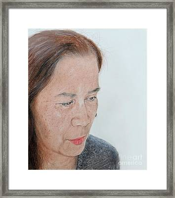 Portrait Of A Filipina In Thought  Framed Print by Jim Fitzpatrick