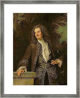 Portrait Of A Gentleman, Or Portrait Of Jean De Julienne Oil On Canvas Framed Print by Jean Antoine Watteau