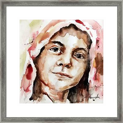 Portrait Of A Girl Framed Print by Michael Tsinoglou