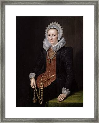 Portrait Of A Lady Aged 29, 1615 Oil On Panel Framed Print by Michiel Jansz. van Miereveld