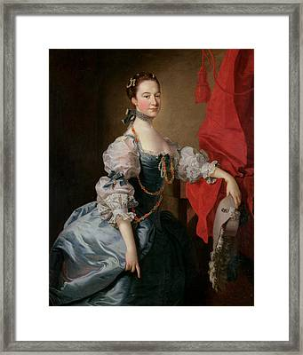 Portrait Of A Lady In A Blue Gown Framed Print by Thomas Hudson