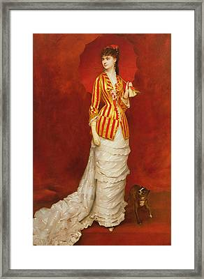 Portrait Of A Lady In A Striped Jacket Framed Print by Edouard Alexandre Sain