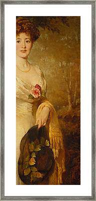 Portrait Of A Lady In A White Dress Framed Print by George Elgar Hicks