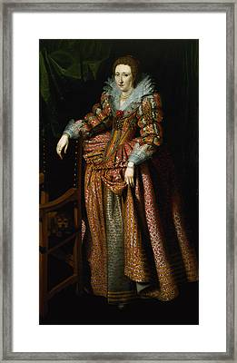 Portrait Of A Lady Said To Be From The Coudenhouve Family Of Flanders, C.1610-20 Oil On Canvas Pair Framed Print by Hispano-Flemish School