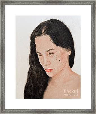 Portrait Of A Long Haired Filipina Beautfy With A Mole On Her Cheek Framed Print by Jim Fitzpatrick