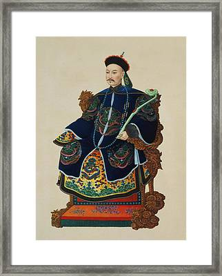 Portrait Of A Mandarin Framed Print by Chinese School