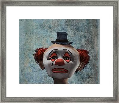 Portrait Of A Sad Clown Framed Print by Ramon Martinez