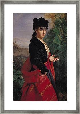 Portrait Of A Spanish Woman Framed Print by Heinrich Wilhelm Schlesinger
