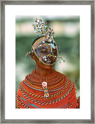 Portrait Of A Teenage Girl Smiling Framed Print by Panoramic Images