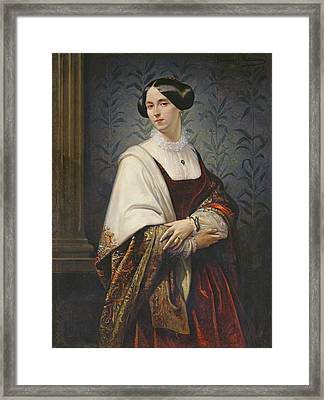 Portrait Of A Woman, 1853 Oil On Canvas Framed Print by Benedict Masson