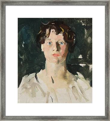 Portrait Of A Woman Framed Print by Charles Webster Hawthorne