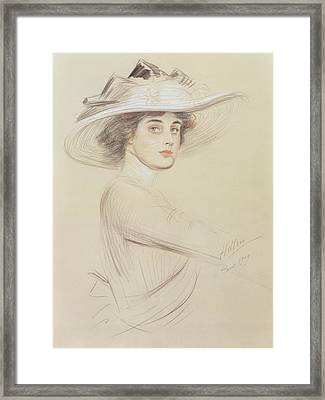 Portrait Of A Woman Framed Print by  Paul Cesar Helleu