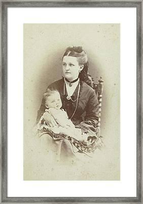 Portrait Of A Woman With A Baby, Wj Gram Mann Framed Print by Artokoloro