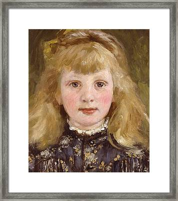 Portrait Of A Young Girl Framed Print by James Charles
