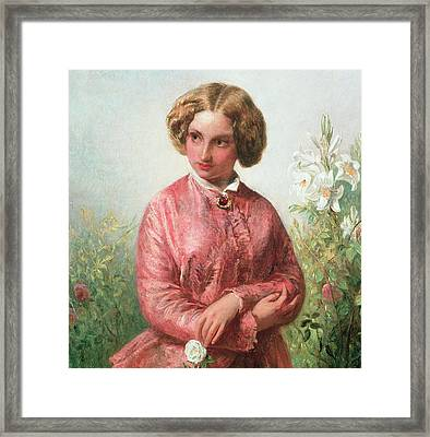 Portrait Of A Young Girl With A Rose Framed Print by Abraham Solomon