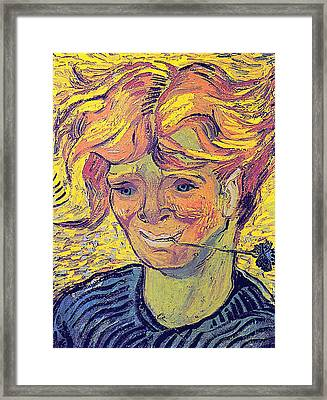 Portrait Of A Young Man With Cornflower Framed Print by Vincent Van Gogh